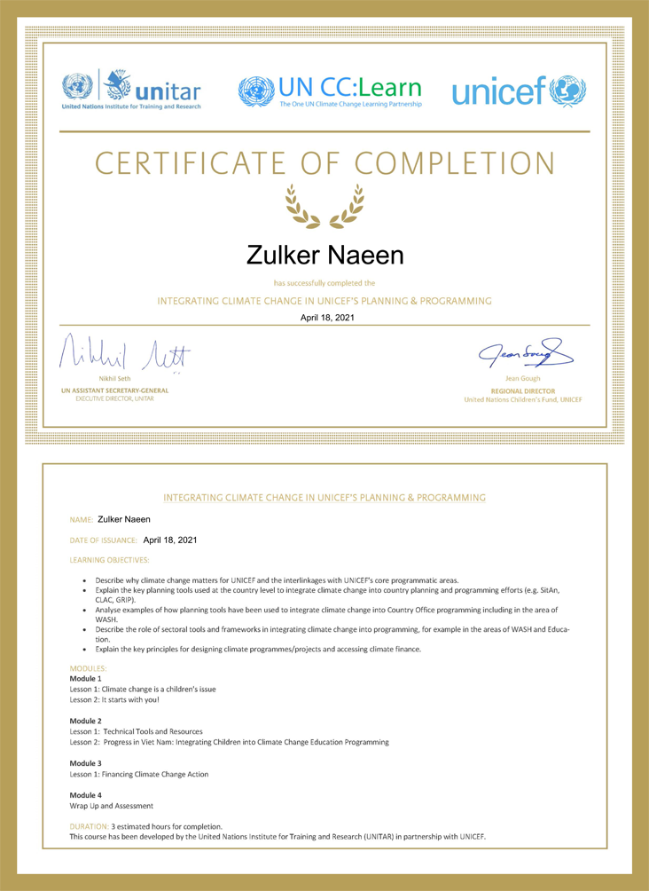 Certificate: Climate Change in UNICEF's Planning and Programming